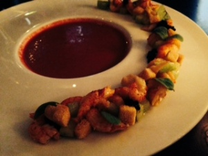 Beet soup with seafood strand at Tales & Spirits